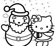Coloriage Hello Kitty et Bonhomme de Neige simple