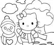 Coloriage Hello Kitty et Bonhomme de Neige sous le Ciel
