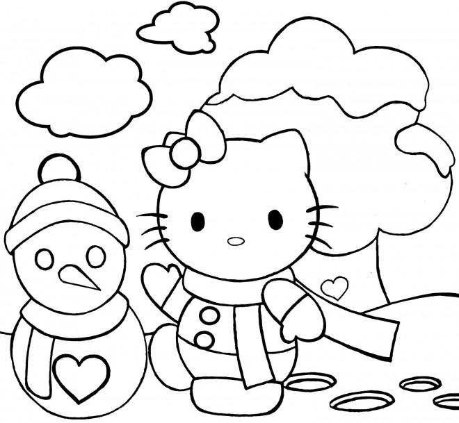Coloriage et dessins gratuits Hello Kitty et Bonhomme de Neige sous le Ciel à imprimer