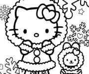 Coloriage Hello Kitty et Flocons de Neige