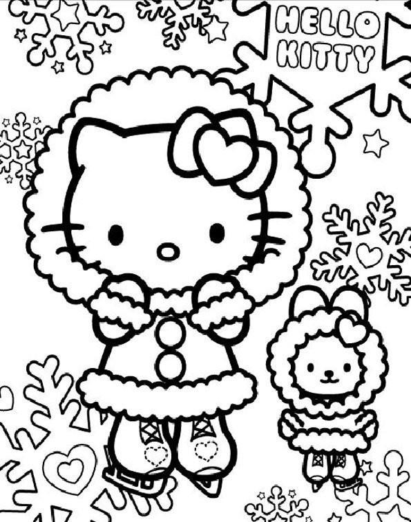 Coloriage et dessins gratuits Hello Kitty et Flocons de Neige à imprimer