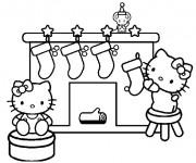 Coloriage Hello Kitty et la Décoration pour Le  Noel