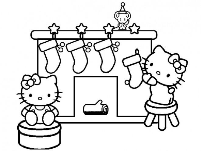 Coloriage et dessins gratuits Hello Kitty et la Décoration pour Le  Noel à imprimer