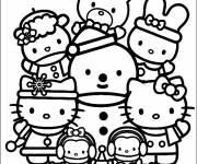 Coloriage Hello Kitty et la grande famille