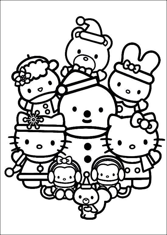 Coloriage et dessins gratuits Hello Kitty et la grande famille à imprimer