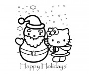 Coloriage Hello Kitty et La Vacance de Noel
