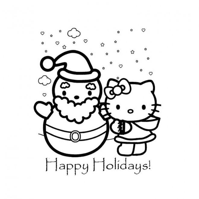 Coloriage hello kitty et la vacance de noel dessin gratuit imprimer - Coloriage hello kitty et la licorne ...
