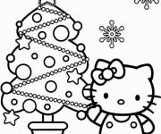 Coloriage Hello Kitty et le Sapin bien décoré