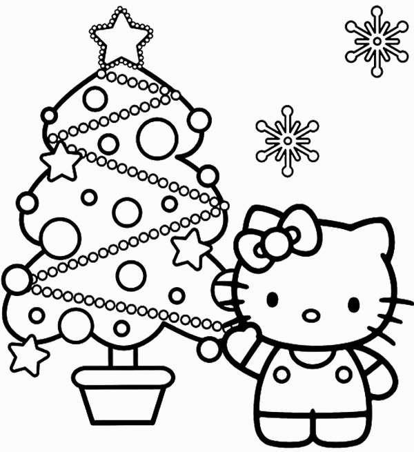 Coloriage et dessins gratuits Hello Kitty et le Sapin bien décoré à imprimer