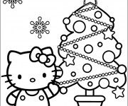 Coloriage Hello Kitty et Le Sapin de Noël