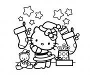 Coloriage et dessins gratuit Hello Kitty et Les Cadeaux de Noel à imprimer