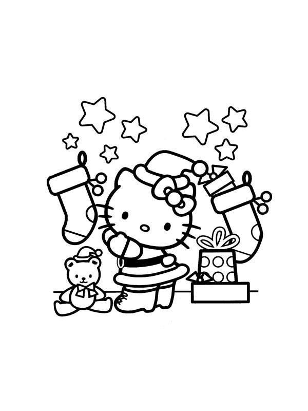 Coloriage et dessins gratuits Hello Kitty et Les Cadeaux de Noel à imprimer