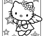 Coloriage hello kitty et les toiles de noel - Coloriage hello kitty et mimi ...