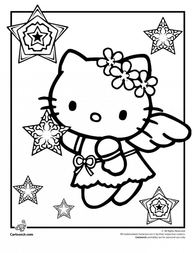 Coloriage Hello Kitty et Les Étoiles de Noel