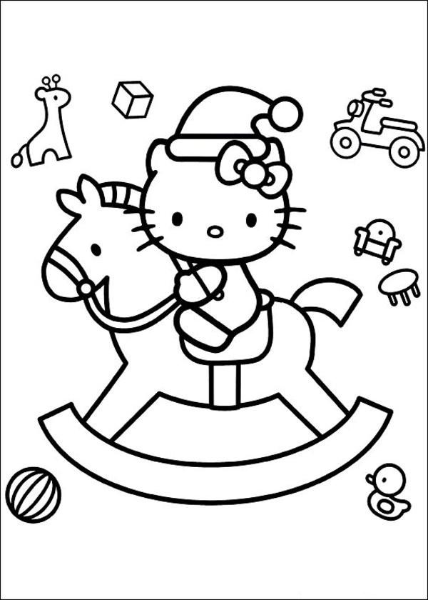Coloriage et dessins gratuits Hello Kitty et Les Jouets de Noel à imprimer