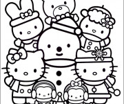 Coloriage Hello Kitty et Pucca à colorier