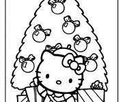 Coloriage Hello Kitty et Sapin Noel en couleur