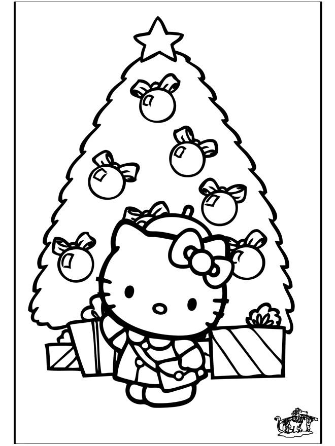 Coloriage Hello Kitty Et Sapin Noel En Couleur Dessin Gratuit A
