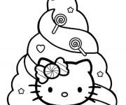 Coloriage et dessins gratuit Hello Kitty et Sapin pour enfant à imprimer