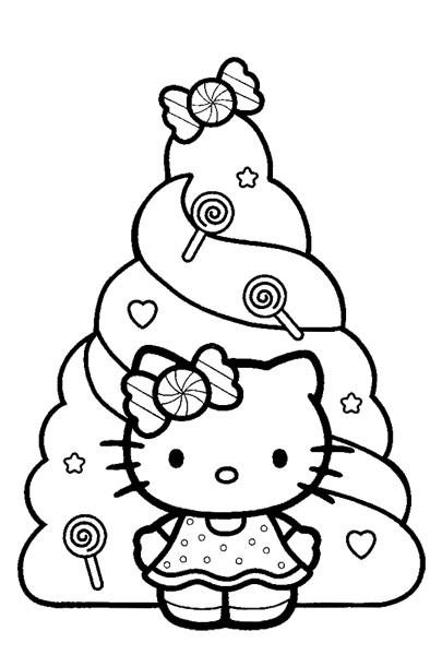 Coloriage Hello Kitty et Sapin pour enfant dessin gratuit à imprimer