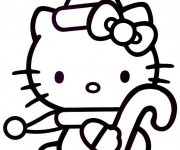 Coloriage Hello Kitty facile en noir