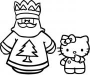 Coloriage Hello Kitty facile en noir et blanc