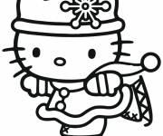 Coloriage et dessins gratuit Hello Kitty fait du patin à imprimer