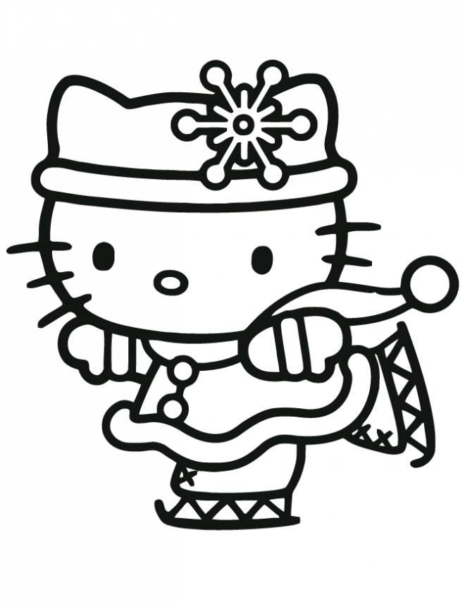 Coloriage et dessins gratuits Hello Kitty fait du patin à imprimer