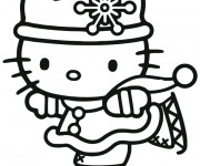 Coloriage Hello Kitty fait du Ski
