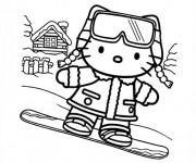 Coloriage Hello Kitty fait du Snowboard