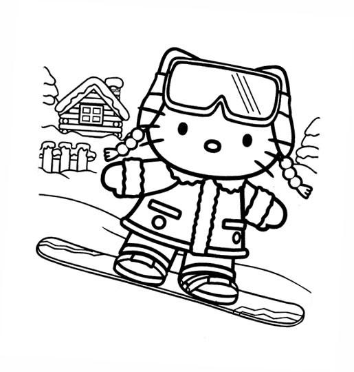 Coloriage et dessins gratuits Hello Kitty fait du Snowboard à imprimer