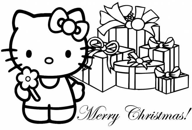 Coloriage et dessins gratuits Hello Kitty Joyeux Noël à imprimer
