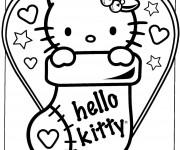 Coloriage et dessins gratuit Hello Kitty mignonne pour Noel à imprimer