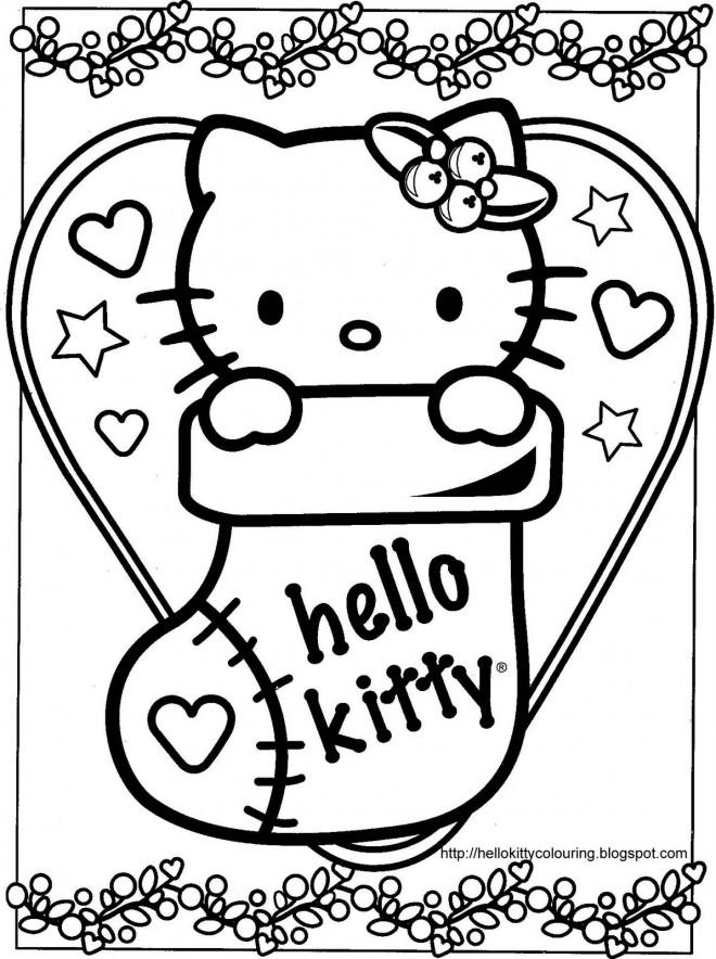Coloriage Hello Kitty Mignonne Pour Noel Dessin Gratuit A Imprimer