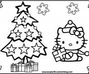 Coloriage dessin  Hello Kitty Noel 14