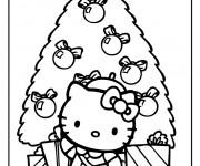 Coloriage dessin  Hello Kitty Noel 2