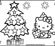 Coloriage Hello Kitty Noel à télécharger
