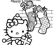 Coloriage Hello Kitty Noel dessin animé