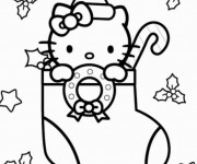 Coloriage Hello Kitty Noel en Hiver