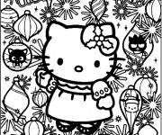 Coloriage Hello Kitty Noel maternelle