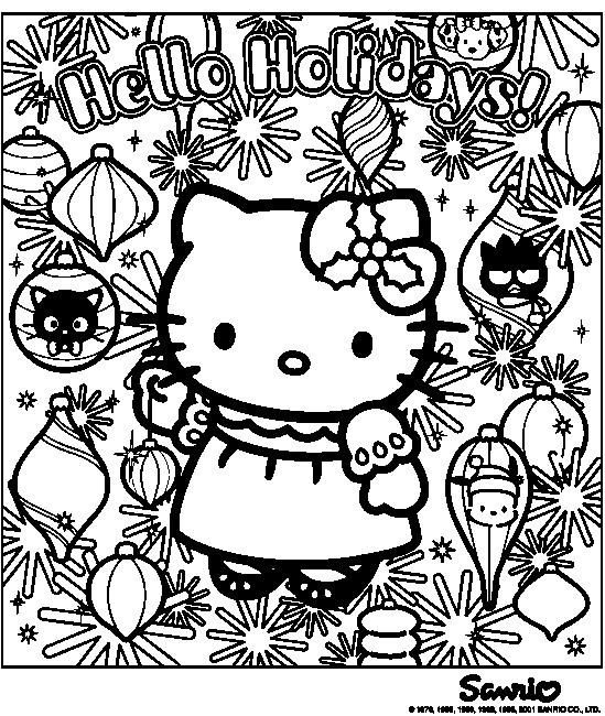 Coloriage et dessins gratuits Hello Kitty Noel maternelle à imprimer