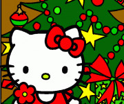 Coloriage Hello Kitty Noel multicolore à télécharger