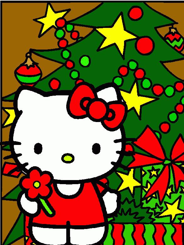 Coloriage et dessins gratuits Hello Kitty Noel multicolore à télécharger à imprimer