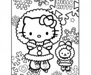 Coloriage Hello Kitty Porte des vêtements lourdes