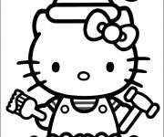 Coloriage Hello Kitty porte Le Bonnet de Noel