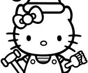 Coloriage Hello Kitty porte le pinceau de peinture