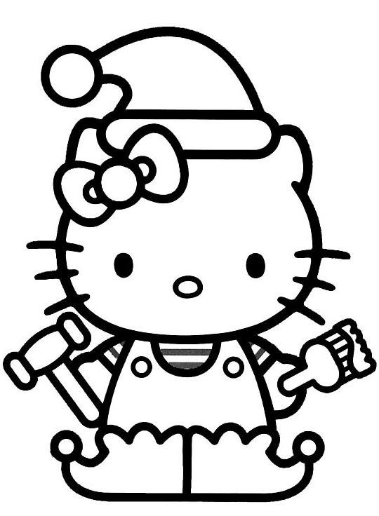 Coloriage et dessins gratuits Hello Kitty porte le pinceau de peinture à imprimer