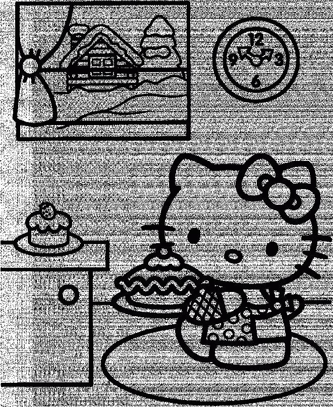 Coloriage et dessins gratuits Hello Kitty prépare un Gâteau à imprimer