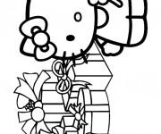 Coloriage Hello Kitty reçoit ses cadeaux Noël