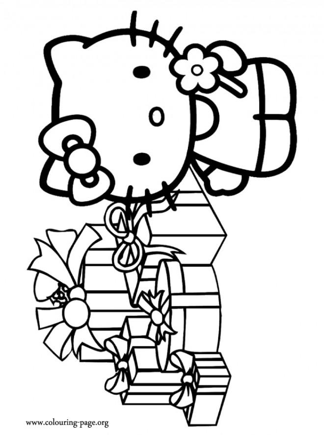 Coloriage et dessins gratuits Hello Kitty reçoit ses cadeaux Noël à imprimer